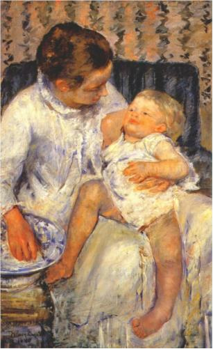 Mother about to Wash her Sleepy Child - Mary Cassatt